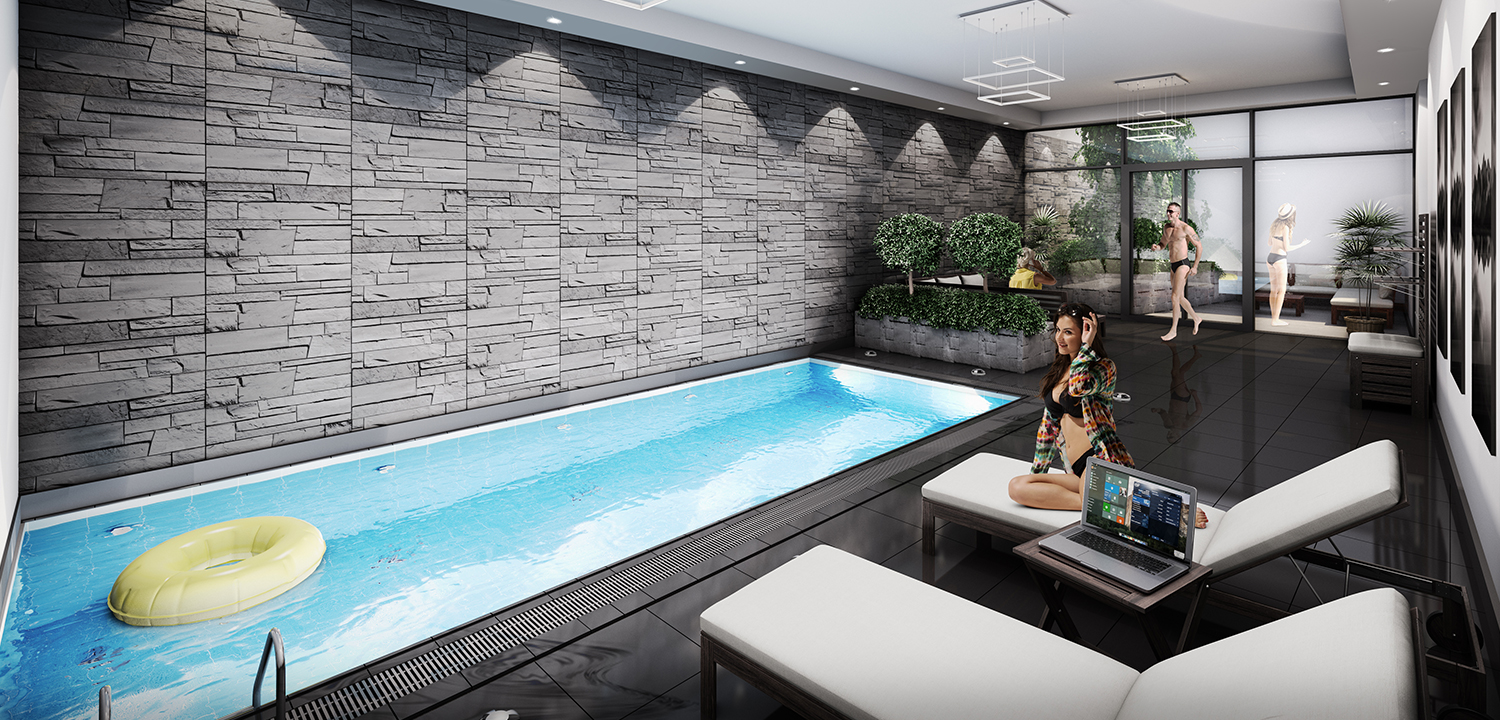 Luxury Indoor Pool 3d Visualisation
