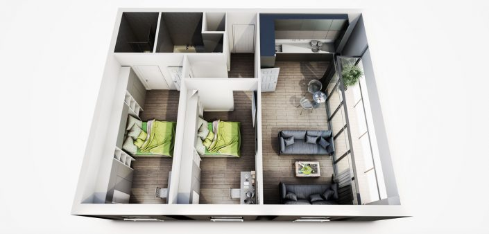 Student Apartment 3D Visualisation 3D Floor Plan