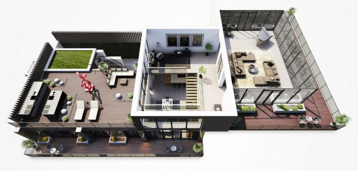 Penthouse 3D Floor Plan Liverpool